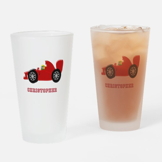 Personalised Red Racing Car Drinking Glass