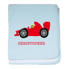 Personalised Red Racing Car baby blanket