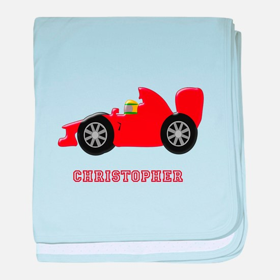 Personalised Red Racing Car baby blanket