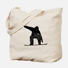 Distressed Snowboarder Silhouette Tote Bag
