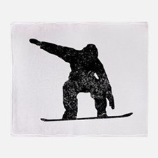 Distressed Snowboarder Silhouette Throw Blanket