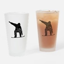 Distressed Snowboarder Silhouette Drinking Glass