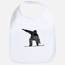 Distressed Snowboarder Silhouette Bib