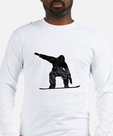 Distressed Snowboarder Silhouette Long Sleeve T-Sh