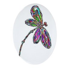 DragonflyNeon Oval Ornament