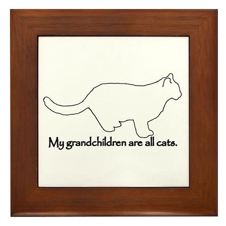 Grandchildren are Cats Framed Tile