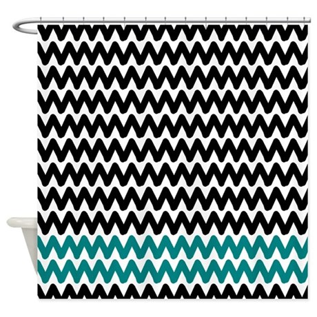 Black And Teal Zig Zags Shower Curtain By Retroculture