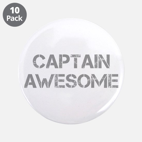 "captain-awesome-CAP-GRAY 3.5"" Button (10 pack)"