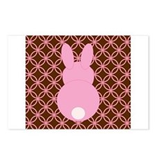 Pink Bunny on Brown and Pink Postcards (Package of