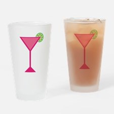 Pink Cocktail With Lime Drinking Glass