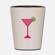 Pink Cocktail With Lime Shot Glass