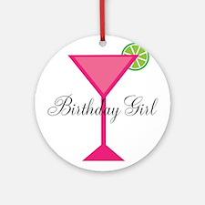Birthday Girl Pink Cocktail Ornament (Round)