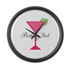 Birthday Girl Pink Cocktail Large Wall Clock