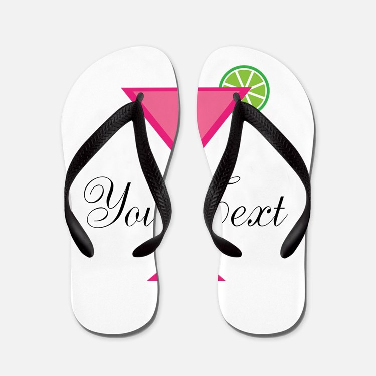 Personalizable Pink Cocktail Flip Flops