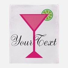 Personalizable Pink Cocktail Throw Blanket