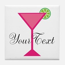 Personalizable Pink Cocktail Tile Coaster