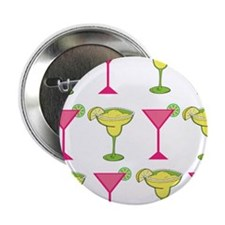 """Pink and Green Cocktails 2.25"""" Button"""