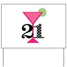 21st Birthday Pink Cocktail Yard Sign