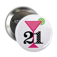 """21st Birthday Pink Cocktail 2.25"""" Button (10 pack)"""