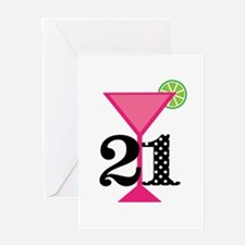 21st Birthday Pink Cocktail Greeting Cards