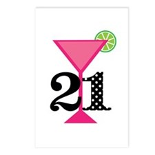 21st Birthday Pink Cocktail Postcards (Package of
