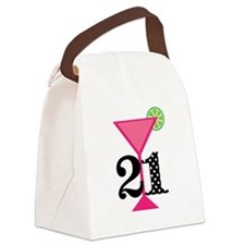 21st Birthday Pink Cocktail Canvas Lunch Bag