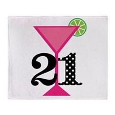 21st Birthday Pink Cocktail Throw Blanket