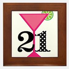 21st Birthday Pink Cocktail Framed Tile