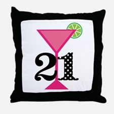 21st Birthday Pink Cocktail Throw Pillow