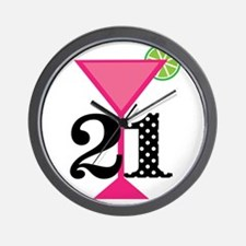 21st Birthday Pink Cocktail Wall Clock