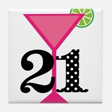 21st Birthday Pink Cocktail Tile Coaster