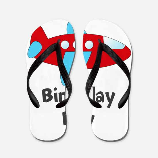 Birthday Boy Red and Blue Plane Flip Flops