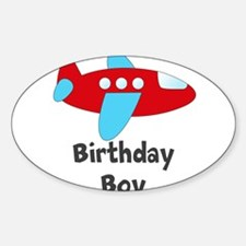 Birthday Boy Red and Blue Plane Decal