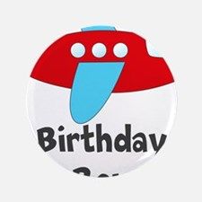 "Birthday Boy Red and Blue Plane 3.5"" Button"