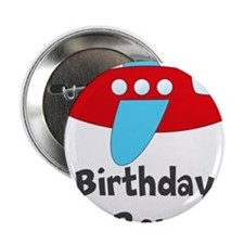 """Birthday Boy Red and Blue Plane 2.25"""" Button"""