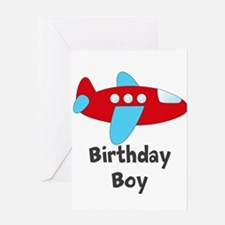 Birthday Boy Red and Blue Plane Greeting Cards