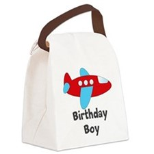 Birthday Boy Red and Blue Plane Canvas Lunch Bag