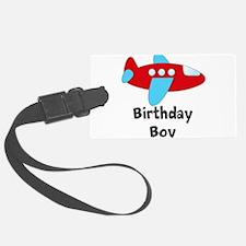 Birthday Boy Red and Blue Plane Luggage Tag