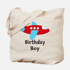 Birthday Boy Red and Blue Plane Tote Bag