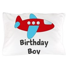 Birthday Boy Red and Blue Plane Pillow Case