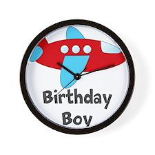 Birthday Boy Red and Blue Plane Wall Clock