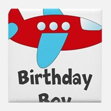 Birthday Boy Red and Blue Plane Tile Coaster