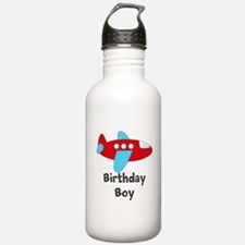 Birthday Boy Red and Blue Plane Water Bottle