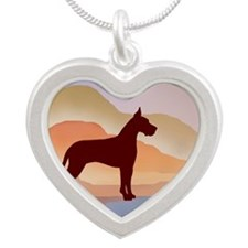 Mountain Mirage Great Dane Silver Heart Necklace