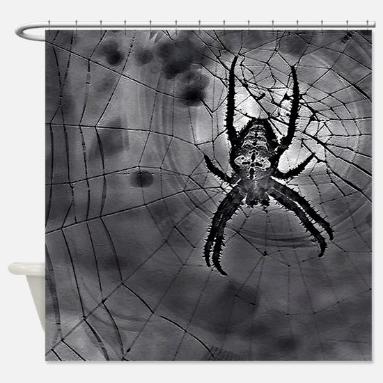Black Abstract Spider Web Art Shower Curtain
