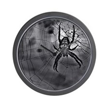 Black Abstract Spider Web Art Wall Clock