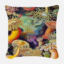 Vintage Sea Anemone Woven Throw Pillow
