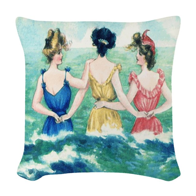 Vintage Victorian Pillows : Vintage Victorian Seashore Woven Throw Pillow by rebeccakorpita