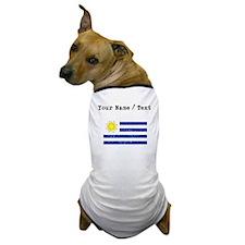 Custom Distressed Uruguay Flag Dog T-Shirt