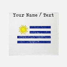Custom Distressed Uruguay Flag Throw Blanket